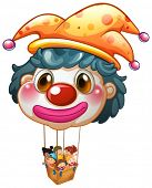 Illustration of a big clown balloon with kids in the big basket on a white background