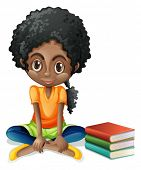 stock photo of beside  - Illustration of a young Black girl sitting beside her books on a white background - JPG
