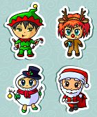 pic of chibi  - Sticker Set With Four Cute Christmas Characters - JPG