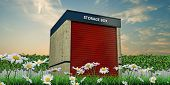 pic of self-storage  - Illustration of a storage unit in a green garden - JPG