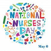 stock photo of nursing  - An abstract illustration of National Nurses Day celebrated in United States - JPG
