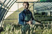 Portrait of a gardener inside a greenhouse