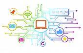 Concept of social media as an information medium.