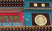 Multicolor Ornament On The Walls Of Buddhist Temple, Inner Mongolia