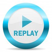replay blue glossy icon