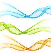 Set of vector  color curve lines design element.
