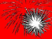 Abstract White And Black Fireworks On Red Background.