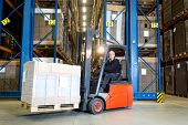 picture of forklift driver  - Forklift driver posing in front of a row with storage racks - JPG