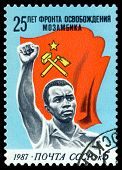Vintage  Postage Stamp.  Flag And Man.