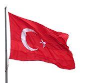 Turkish Flag Waving On Wind