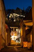 Medieval street from Sighisoara, in the night