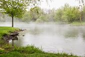 Spring Fog Over The Lake