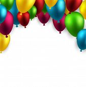Celebration arch background with colorful balloons. Vector illustration.