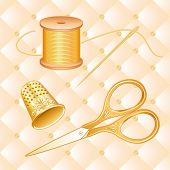 Gold Sewing Set, antique scissors, quilted background