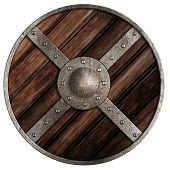Medieval round wooden shield of vikings isolated on white