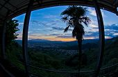 Fisheye view from Montecatini Alto near Florence which is a good viewpoint toward west Tuscany