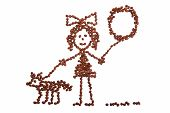 Child s drawing girl with a balloon walking with a dog from coffee beans