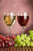 Red And White Wine With Green And Red Grapes