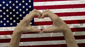 Hands Heart Symbol USA Flag