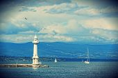 Beacon on the lake Leman in Geneva