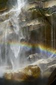 Waterfall known as Vernal Fall falling on a smooth wall of granite in Yosemite National Park, Califo