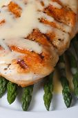 Roasted Meat With Sauce Hollandaise And Asparagus Macro