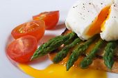 Toast With Asparagus, Egg Benedict And Tomatoes Macro.