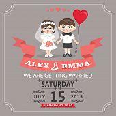 Wedding Invitation With Cartoon European Baby Bride And Groom