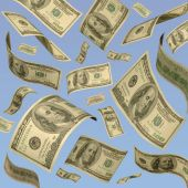 foto of debt free  - One hundred dollar bills floating against a blue sky - JPG