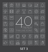 40 Trendy Thin Line Icons For Web And Mobile. Set 3