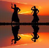 Indian Dance At Sunset