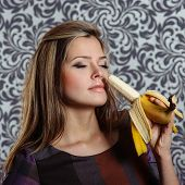 Charming Woman With Banana