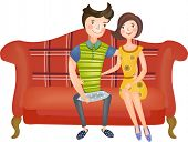 The view of couple in the sofa