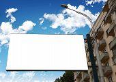 empty billboard with building