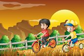Illustration of the kids biking at the woods