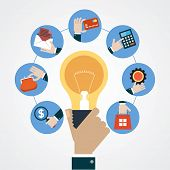 Concept business idea. Hand of a man with a light bulb surrounded by business icons