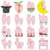 Rabbit Cartoon Characters Vector