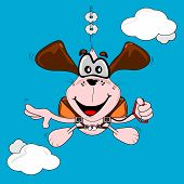 A cartoon dog free fall parachuting