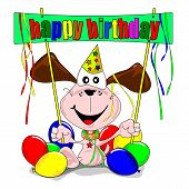 Happy birthday with cartoon dog
