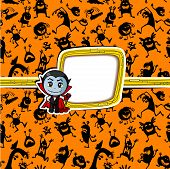 foto of halloween characters  - Halloween color greeting card with vampire character - JPG