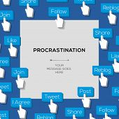 Concept for procrastination with social media addiction
