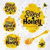 stock photo of drawing beer  - Watercolors of symbols on the topic of honey honeycomb - JPG