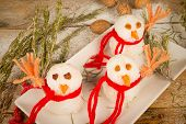 pic of christmas meal  - Funny rice snowmen a kid meal for Christmas - JPG