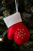 White And Red Felt Mitten Ornament Vertical