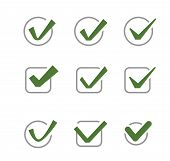 image of confirmation  - vector green illustration of confirm icon on white - JPG