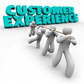 stock photo of clientele  - Customer Experience 3d words pulled by a team of workers or staff to improve client satisfaction from every step of buying process from browsing to usage - JPG