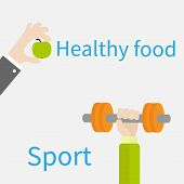 Hands Holding Dumbell And Apple Sport Fitness Healthy Food Lifestyle Concept Flat Design