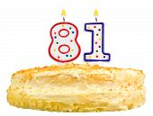 Birthday Cake Candles Number Eighty One Isolated