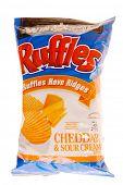 Hayward, Ca - October 28, 2014: 8.5 oz Ruffles Cheddar & Sour Cream Flavor Potato chips