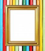 Golden Frame On Colorful Bamboo Wall Background